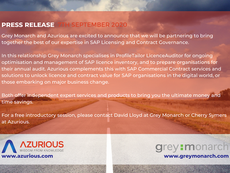 Grey Monarch & Azurious partner to bring together expertise in SAP Licensing & Contract Governance