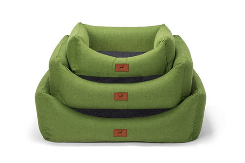 Apple Green Dog Bed (Grey Wool Topper)