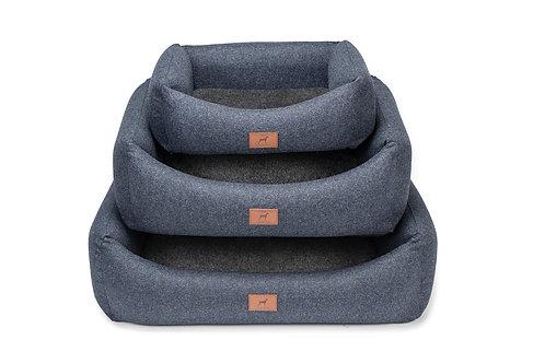 Cobalt Blue Dog Bed (Grey Wool Topper)