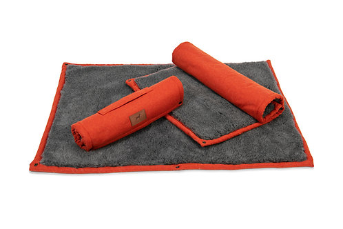 Fire Orange Roll Up Dog Mat (Grey Topper)