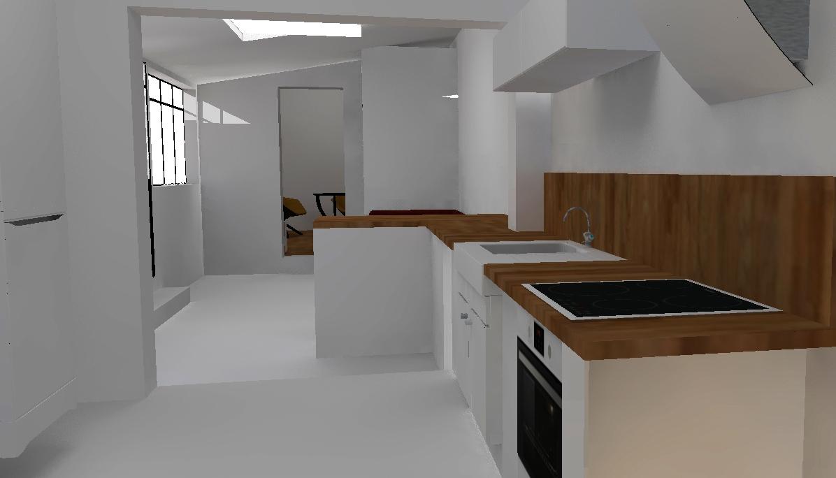 visuel 3D de la future cuisine R+1