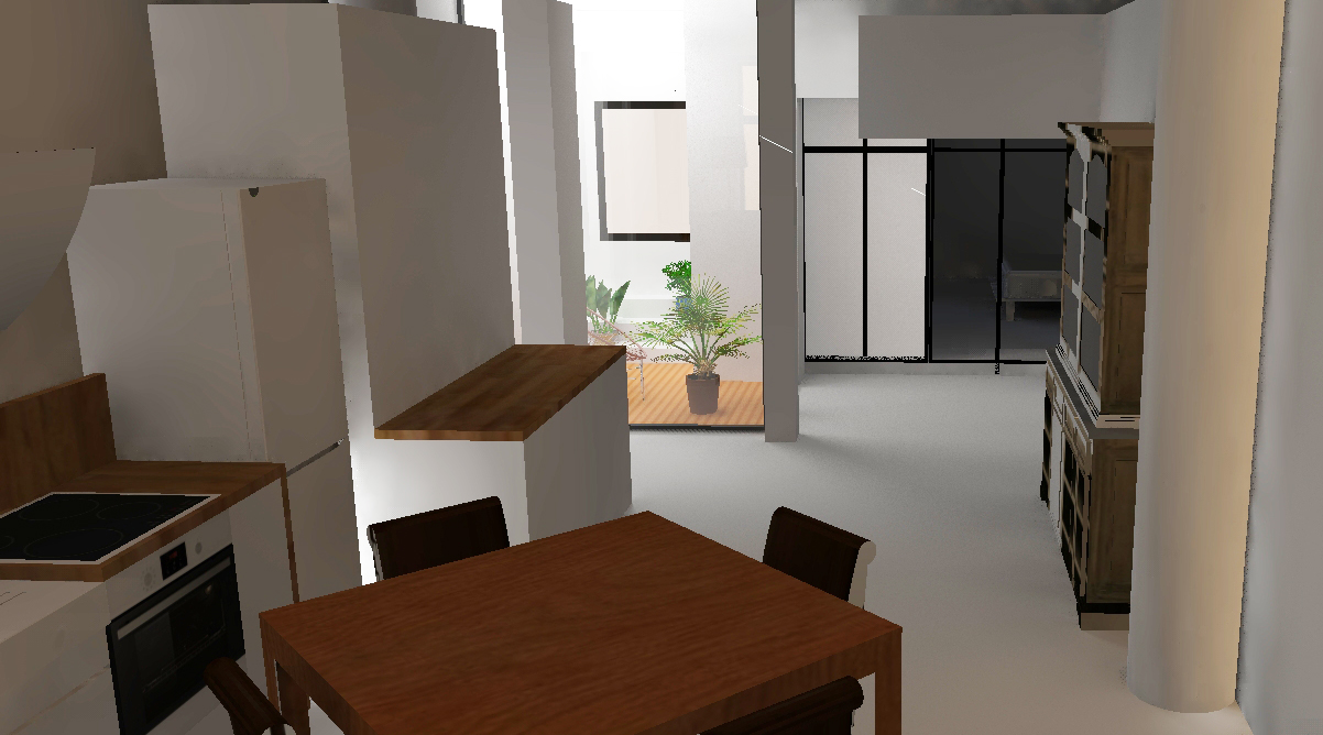 visuel 3D du projet de patio au RDC