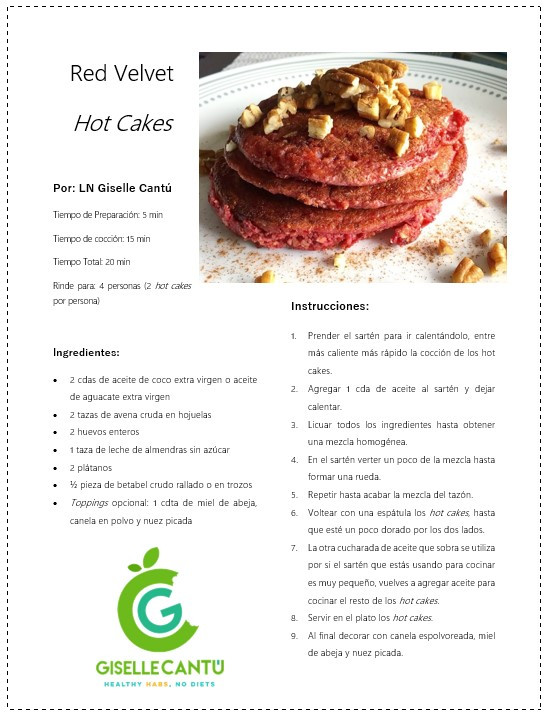 Receta Red Velvet Hot Cakes
