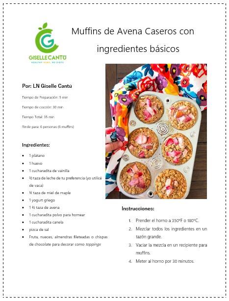 Receta Muffins de Avena Caseros con ingredientes básicos