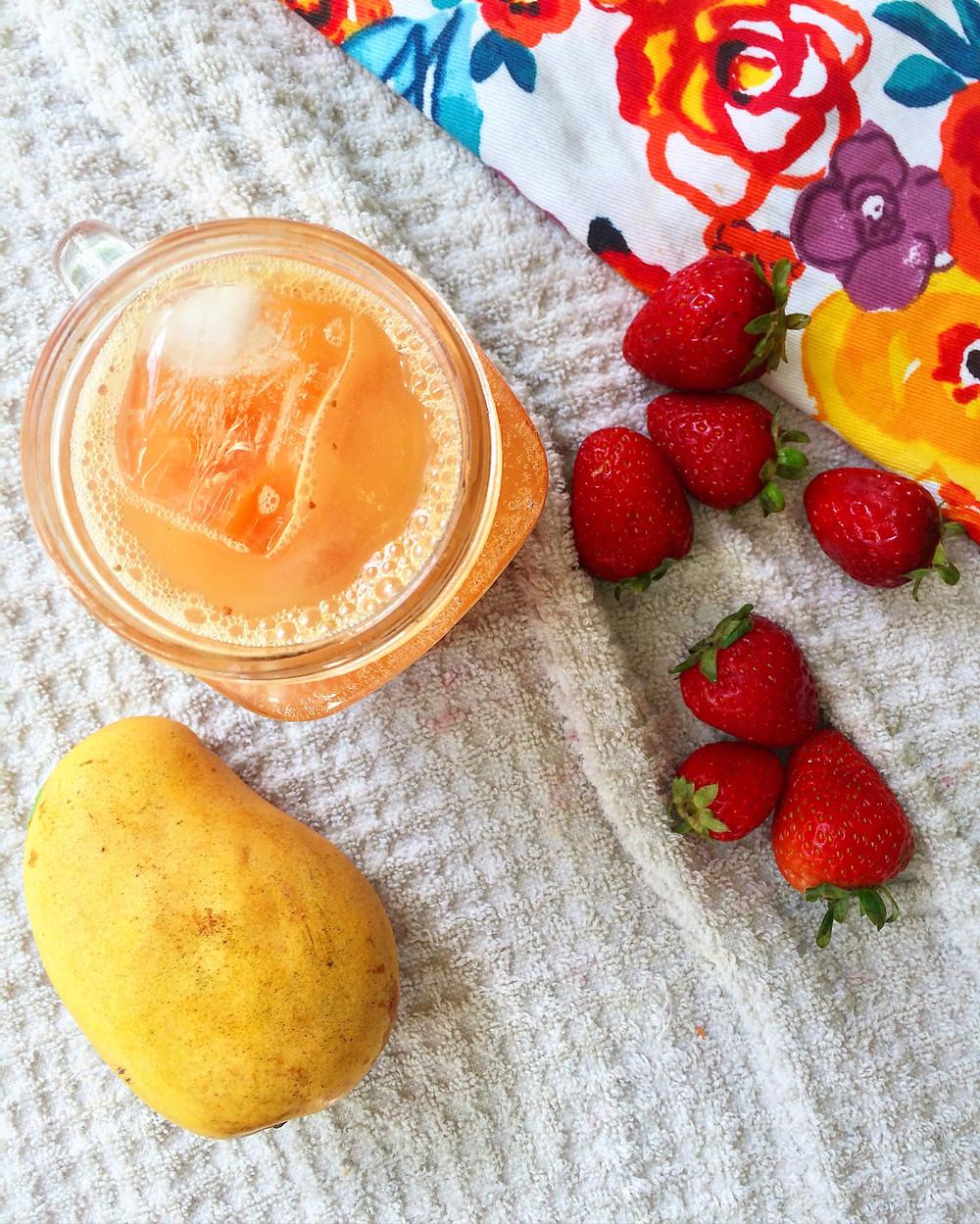 Refresco de Mango-Fresa Saludable