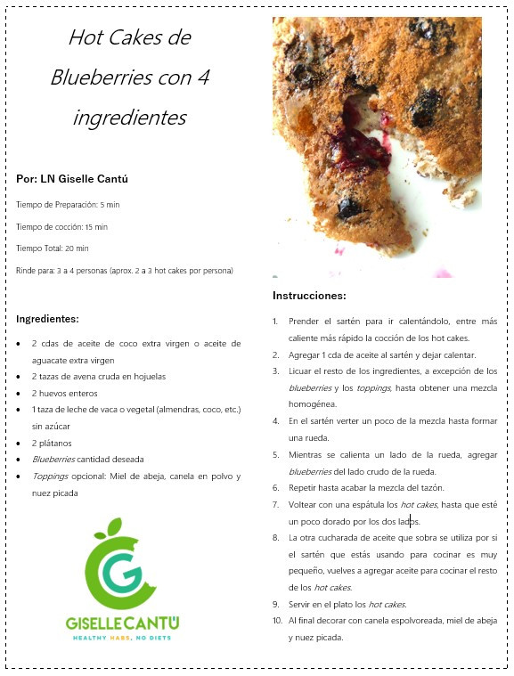 Receta Hot Cakes Blueberries con 4 ingredientes