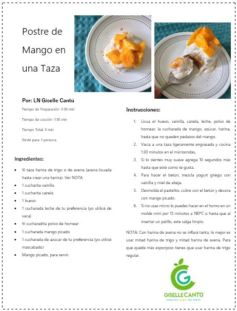 Receta Postre de Mango en una Taza