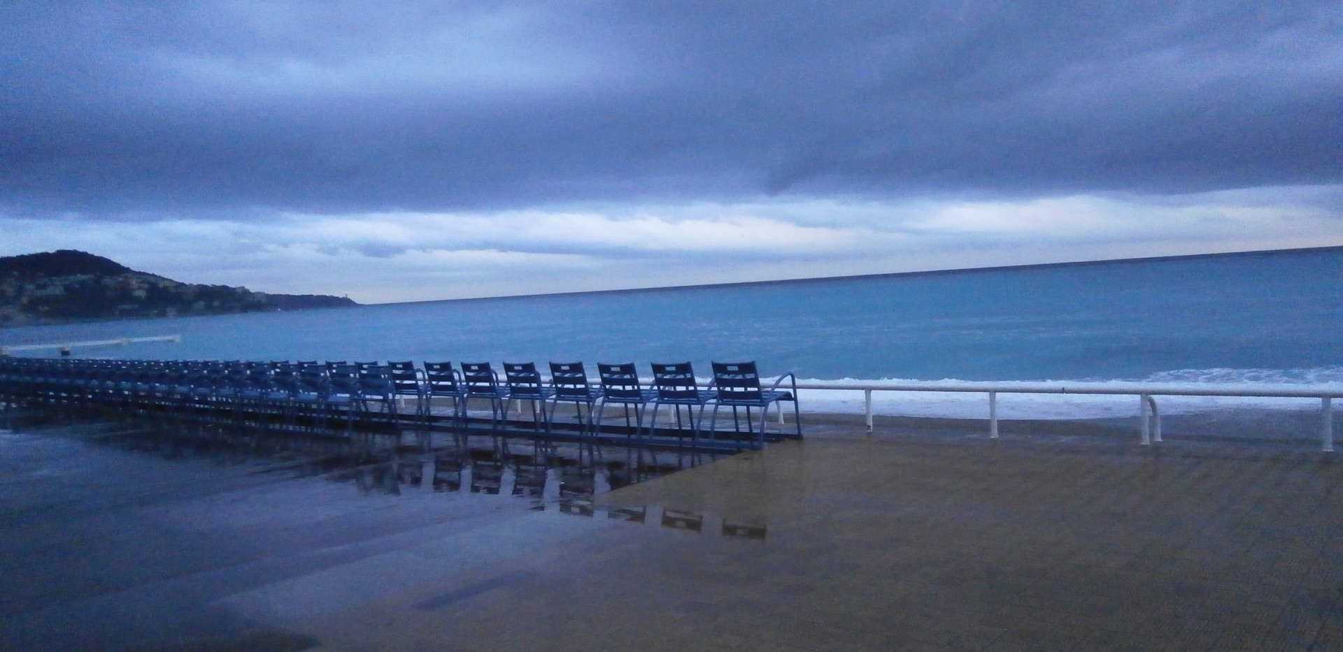 Iconic blue chairs along the Promenade