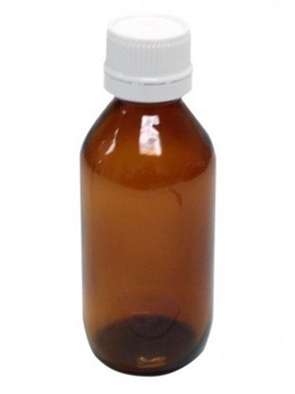 Botella pet ambar 125 ml, tapón rosca