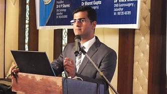 Dr. Mayur Kardile delivering Tuberculosis Spine Lecture in Jalandhar