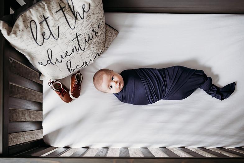 Indianapolis Newborn Photographer lifestyle in home crib