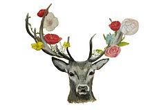 Logo cerf fleuri célestine artisan fleuriste mariage