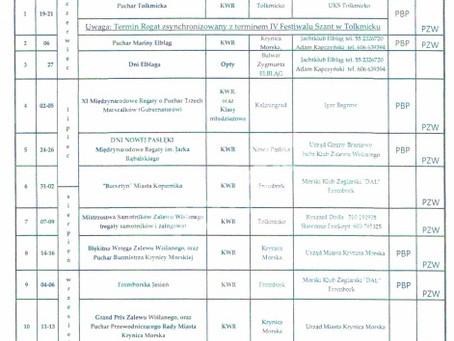 Kalendarz regat 2020