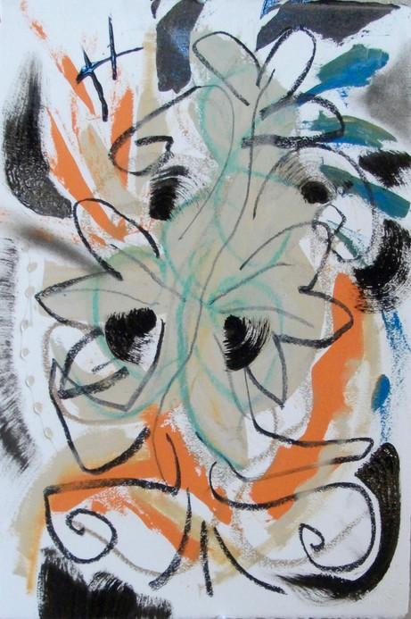 oil, pastel on paper, 2018
