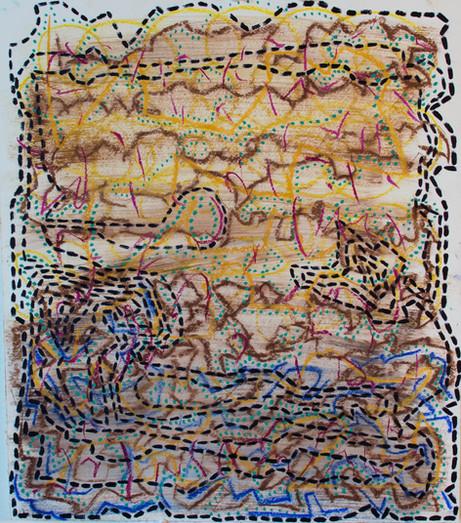 oil, pastel on paper, 2019