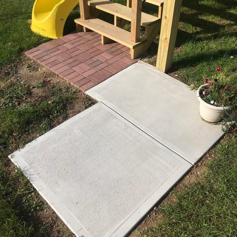 Paver + concrete walkway