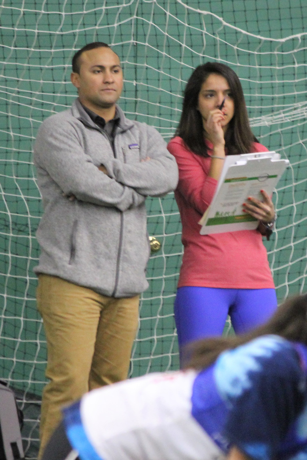 Co Founder, Miguel Lozada (left) and Natalie Bermudez look over the first women's assessment.