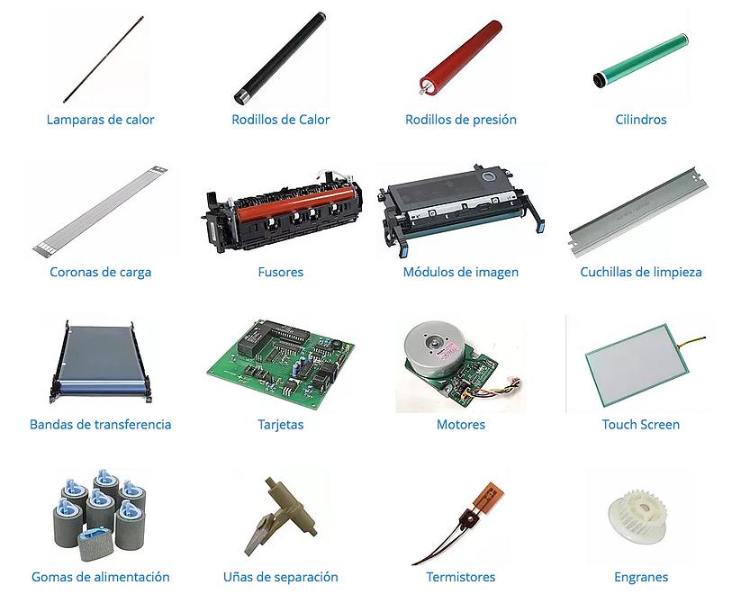 Venta de refacciones, piezas  y compnentes para copiadoras e impresoras en Monterrey