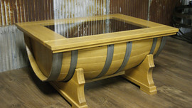 Barrel Coffee Table with Glass Top
