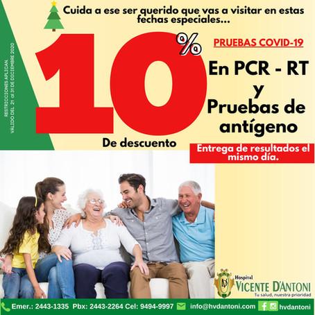 Descuento del 10% en pruebas PCR-RT y Antigenos