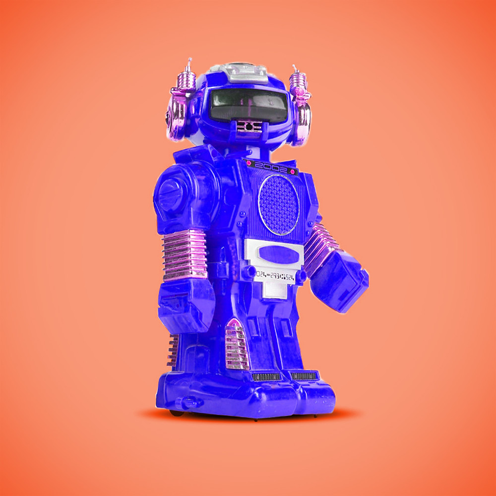 Blue robot on orange background