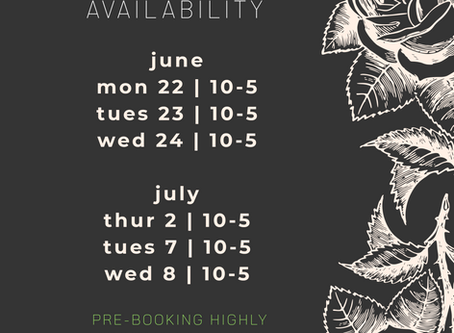 June & July Availability