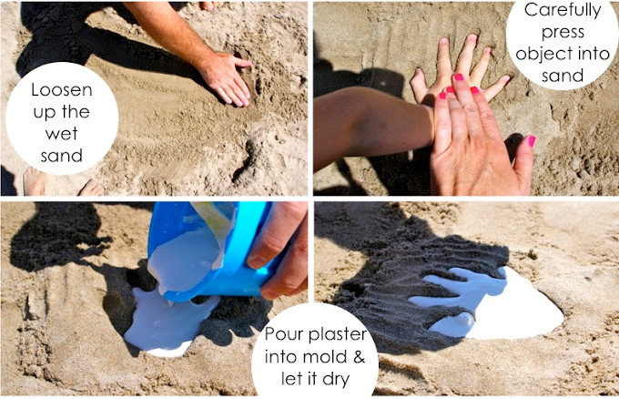 Loosen up the wet sand, carefully press object into sand, pour plaster into mold!