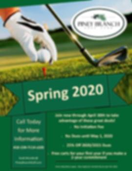 Piney Branch 2020 Spring Membership Promotion