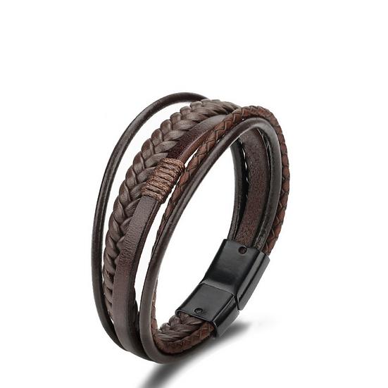 Brown Leather Multi-Band Bracelet