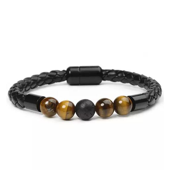 Black Leather Tiger Eye & Lava Stone Bracelet