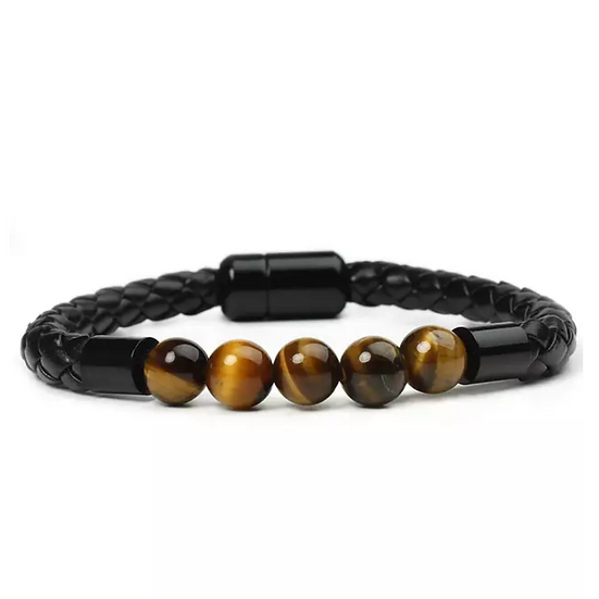 Black Leather Tiger Eye Stone Bracelet