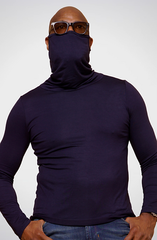 Navy Long-Sleeve Face Cover Shirt
