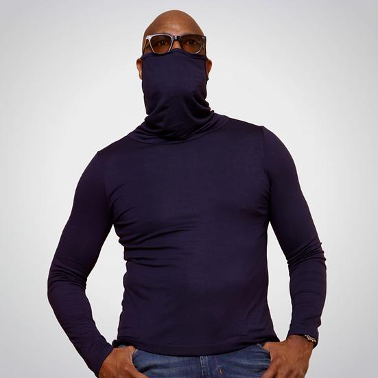 Navy Long-Sleeve Face Cover Shirt