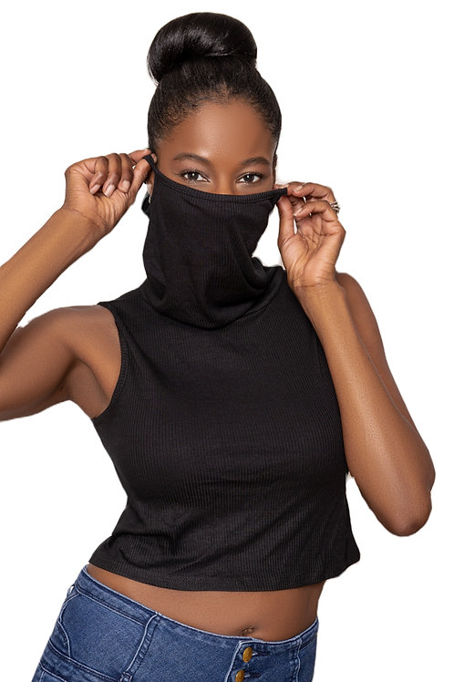 Crop Top Face Cover (Ribbed Black)