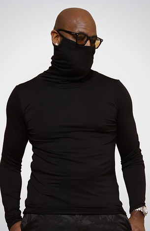 Black Long-Sleeve Face Cover Shirt