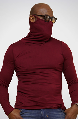 Maroon Long-Sleeve Face Cover Shirt