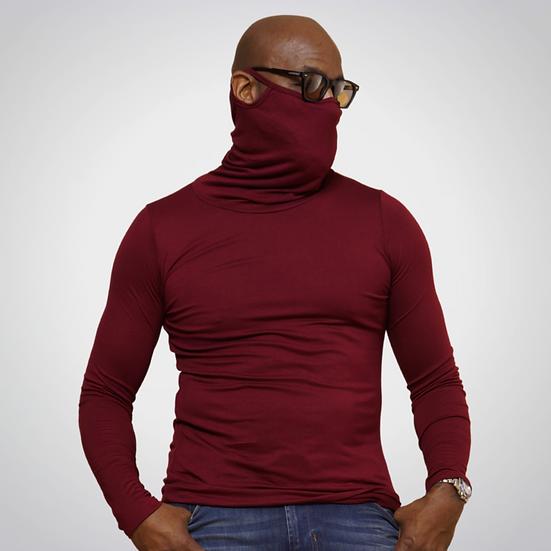 Maroon Long-Sleeve Face Cover Shirt