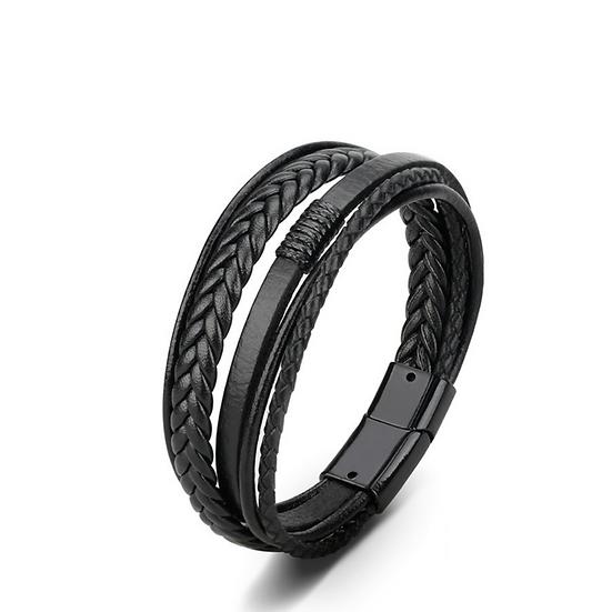 Black Leather Multi-Band Bracelet