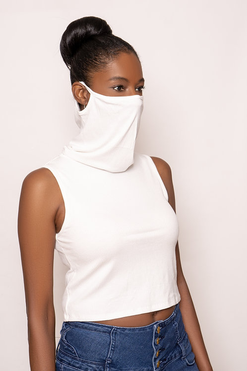 Crop Top Face Cover (Ribbed Ivory)