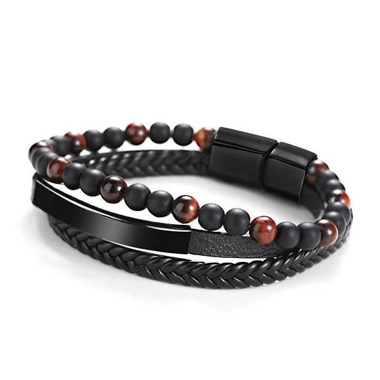 Black Leather Tiger Eye & Agate Bracelet