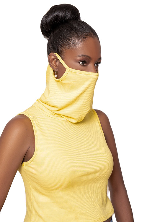 Crop Top Face Cover (Ribbed Yellow)