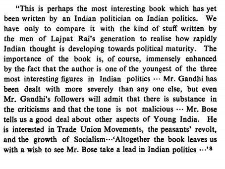 Indian Struggle - An appreciation by an English Periodical