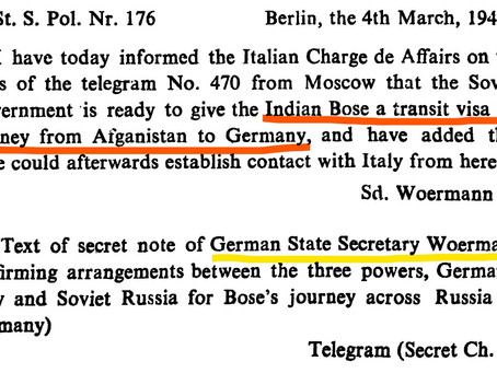 Berlin's correspondence on Bose's transit from Afghanistan
