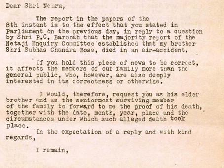 Suresh Bose's letter to Nehru demanding proof of Netaji's death