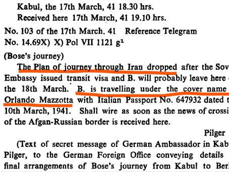 Kabul German Embassy to Berlin, about Bose's Soviet Transit Visa