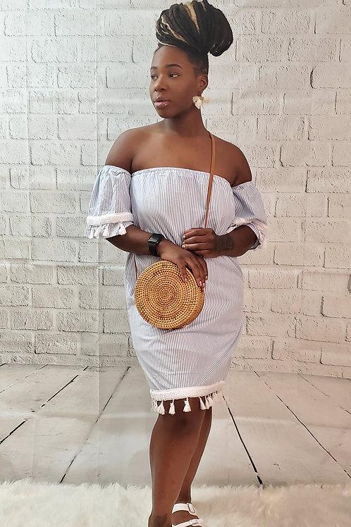 Tasseled Striped Denim Dress