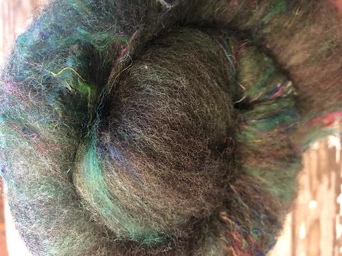 Gray Rambouillet x Columbia wool with alpaca, mohair and  sari silk