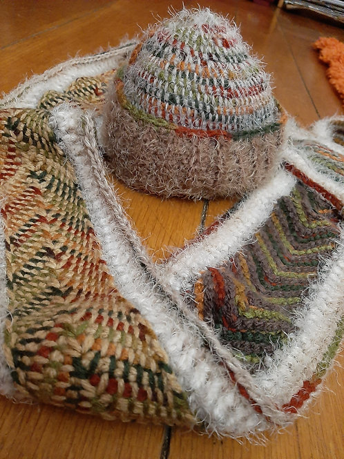 reversible fluffy scarf and hat set