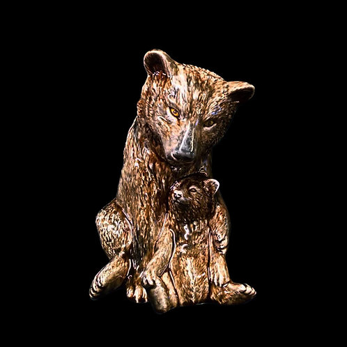 Brown Bear and Cub Figure