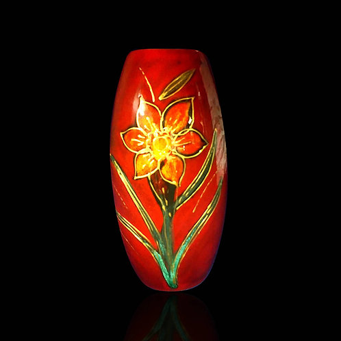 Hand painted 25cm skittle vase daffodils